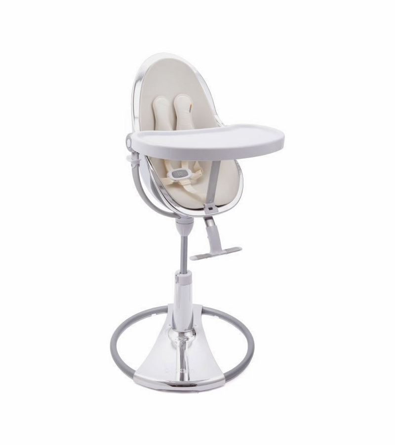 Bloom Fresco Chrome High Chair Silver Frame Coconut White Seat Pad Leatherette