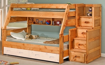 Rustic Style Solid Pine Bunk Bed With Stairway Chest Twin Over