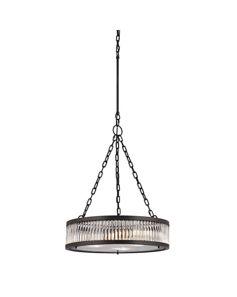 Three Elk Restoration Linden Manor Three Light Pendant In Crystal And Oil Rubbed Bronze