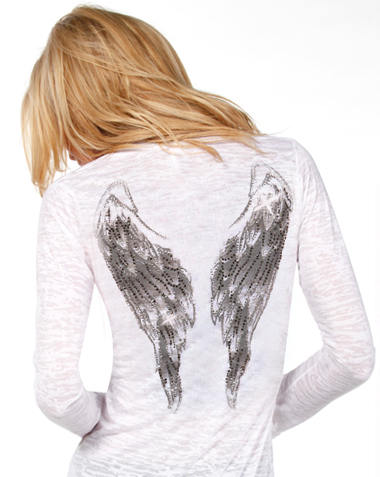 Angel Wing Rhinestone Black Womens T Shirts Top at Amazon
