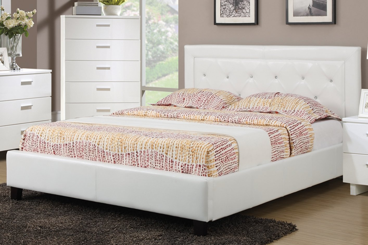 White Wood Full Size Bed - Steal-A-Sofa Furniture Outlet Los ...