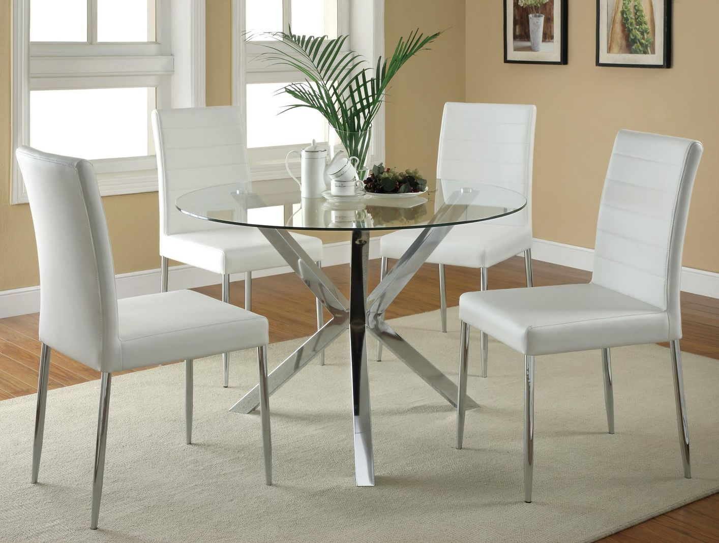 White metal dining