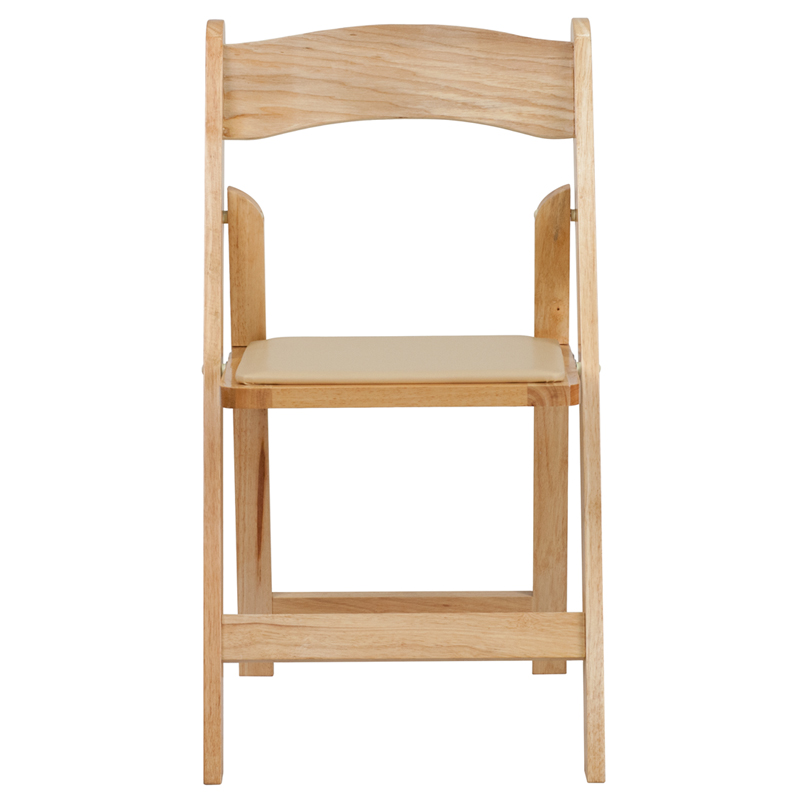 Hercules Series Natural Wood Folding Chair With Vinyl Padded Seat By Flash Furniture