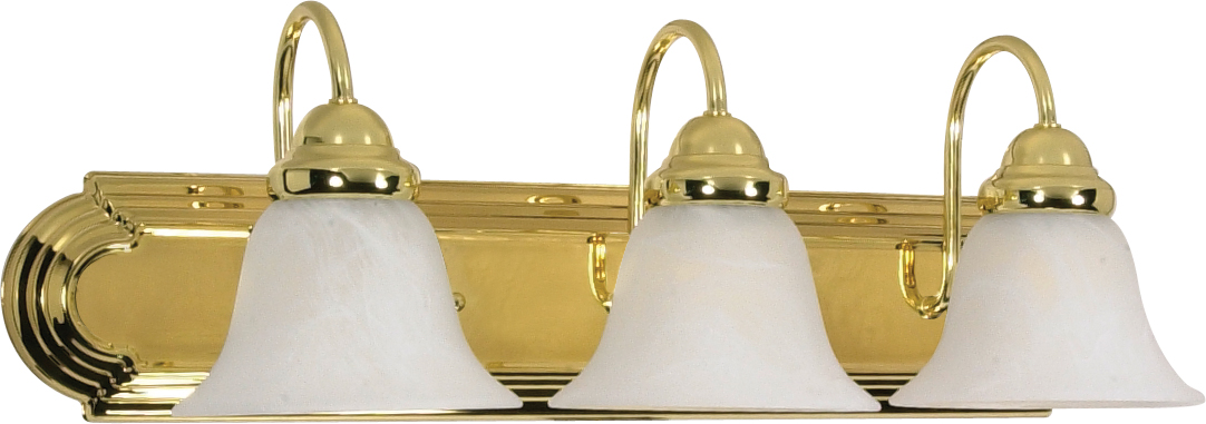 nuvo lighting ballerina 3 light 24 inch vanity with alabaster glass bell shades - Nuvo Lighting