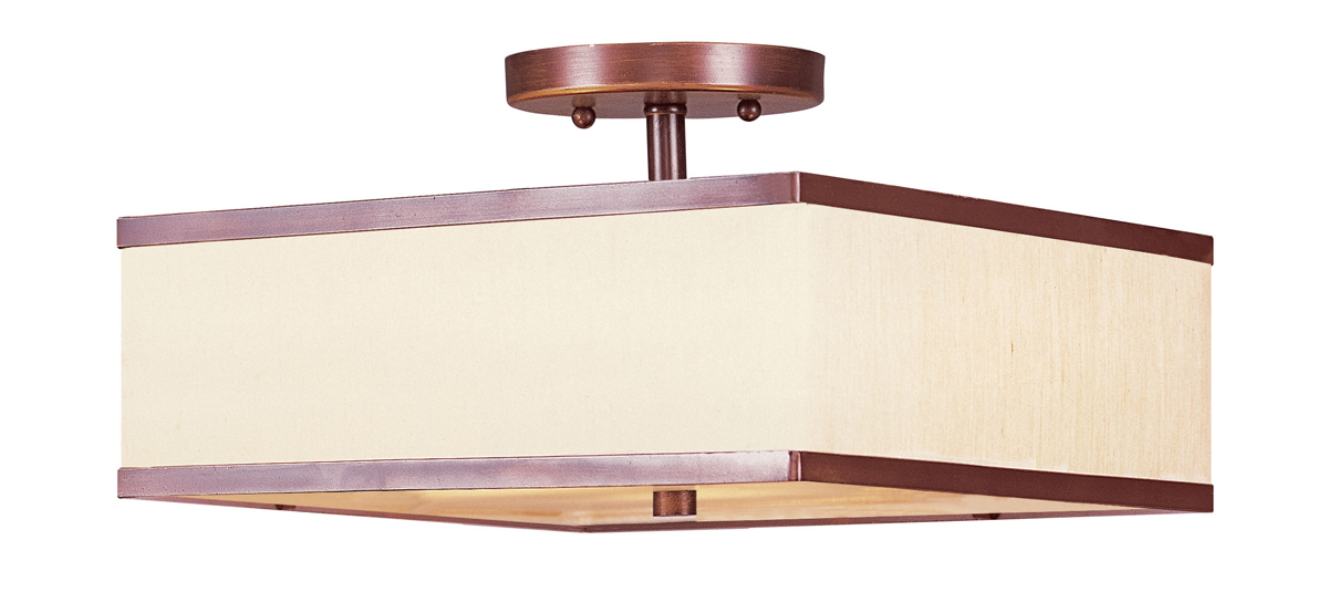 Livex Lighting Eight Park Ridge Two Light Ceiling Mount Shown In Vintage Bronze