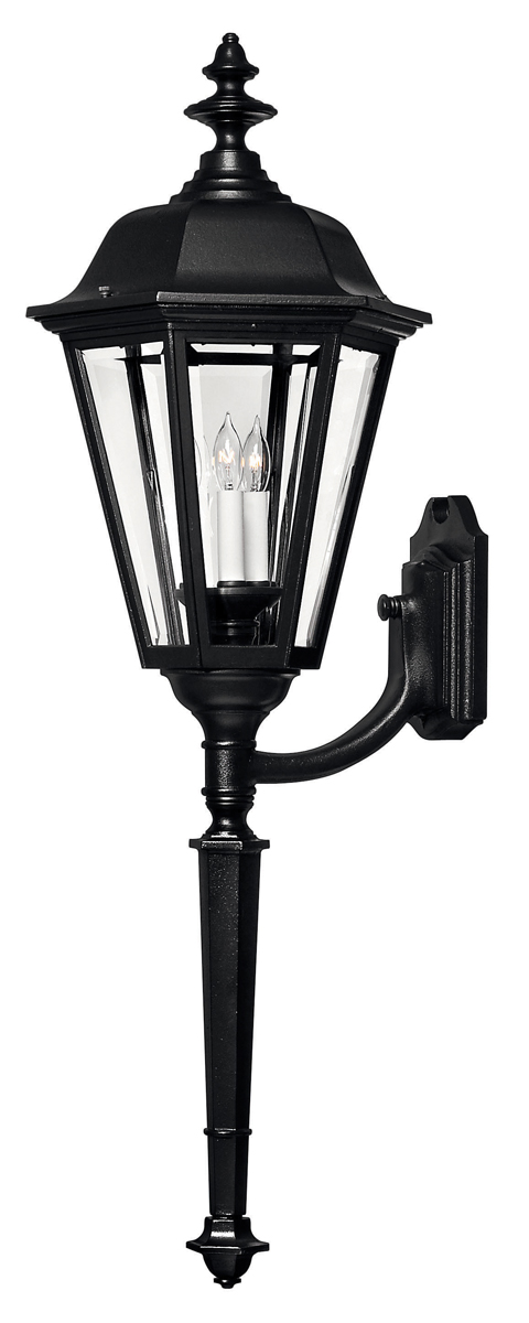 Hinkley Lighting  1470BK  Manor House X Large Outdoor Wall Sconce in Black  with Clear Beveled PanelsColonial   Williamsburg Outdoor Wall Sconces   Lighting Fixtures  . Manor House Outdoor Lighting. Home Design Ideas