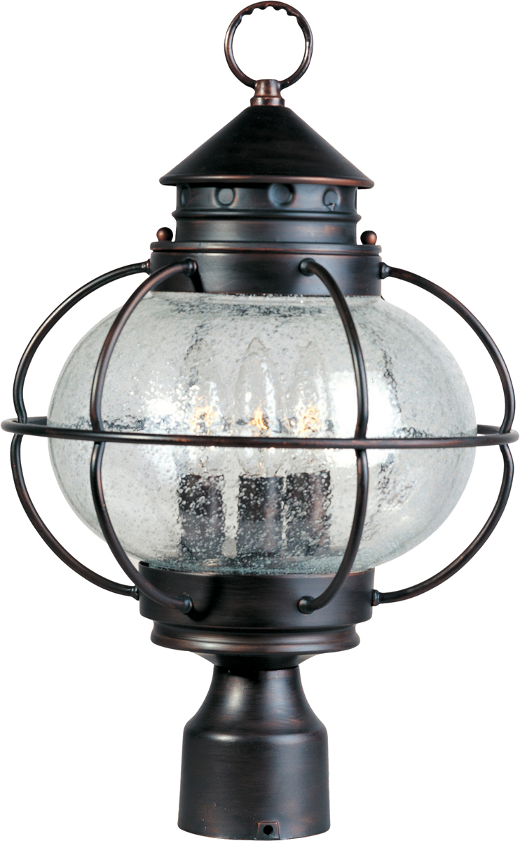 Maxim Lighting (30500) Portsmouth 3 Light Outdoor Pole/Post Lantern Shown  In Oil Rubbed Bronze With Seedy Glass