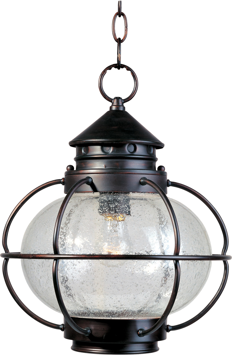maxim lighting portsmouth 1light outdoor hanging lantern shown in oil rubbed bronze with seedy glass