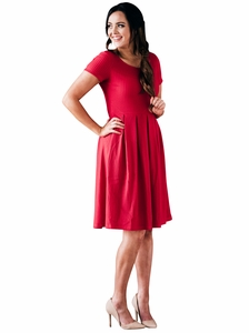 Winslow Modest Christmas Dress In Cherry Red Mesh