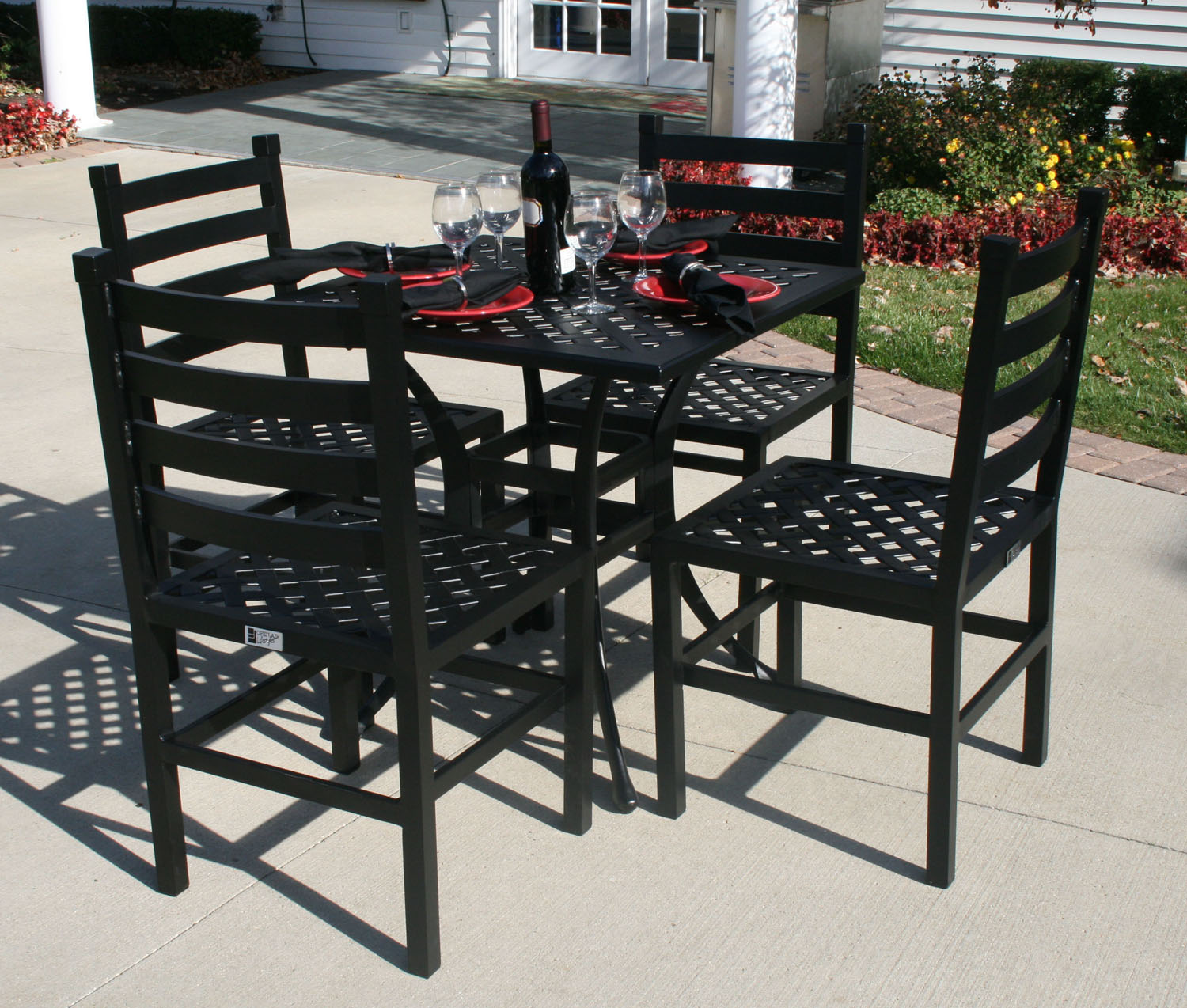 Ansley Luxury 4 Person All Welded Cast Aluminum Patio Furniture Dining Set W 30 Square Table