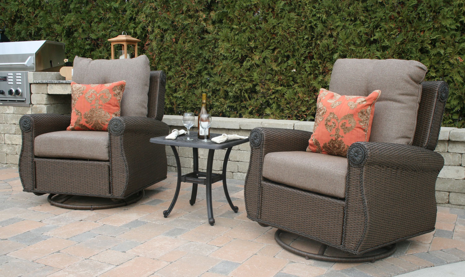 Giovanna Luxury All Weather Wicker Cast Aluminum Patio Furniture Deep Seating Chat Set