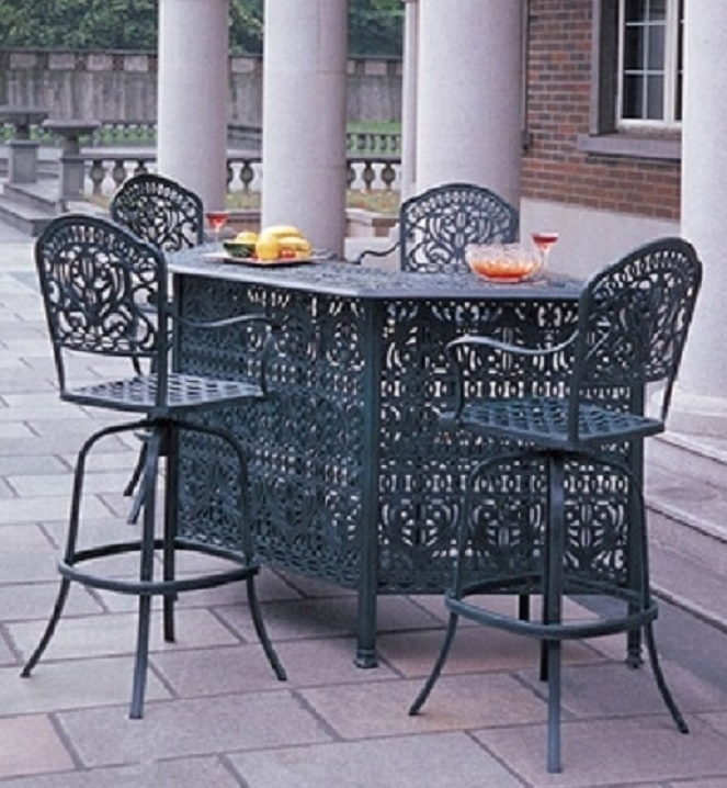 Tuscany By Hanamint Luxury Cast Aluminum Patio Furniture 4 Person Bar Height Set