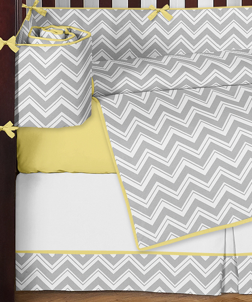 Gray And Yellow Chevron Zig Zag Baby Bedding 9pc Crib Set By Sweet Jojo Designs Only 189 99