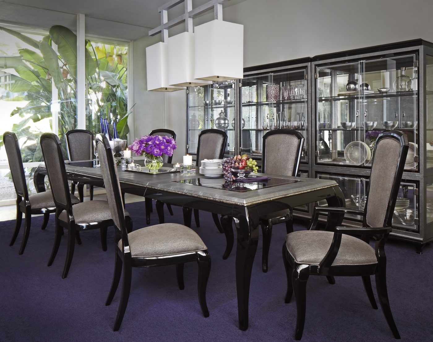 New Michael Amini After Eight 5 Piece Formal Dining Room Set Black Onyx by AICO