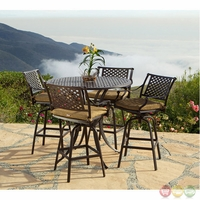 Charleston 5pc Cast Aluminum Outdoor Bar Table Set With Sunbrella Fabric Sets