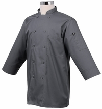 GRAY 3/4 Sleeve Basic Light Weight Chef Jacket