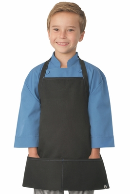Kid's Black Apron with Blue Stitching