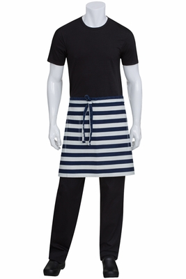 Blue Striped Denim Chesapeake Half Bistro Apron