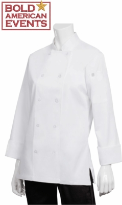 Bold American Ladies  Chef Coat With Logo and Personalization