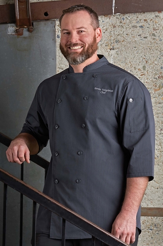 BRIGHTON 3/4 Sleeve Deep Gray Chef Coat