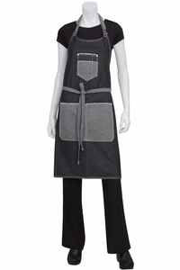 Bronx Scoop Neck Black Denim Bib Apron
