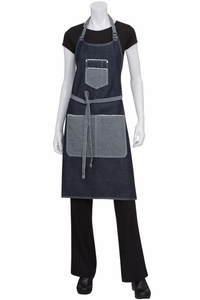Bronx Scoop Neck Blue Denim Bib Apron