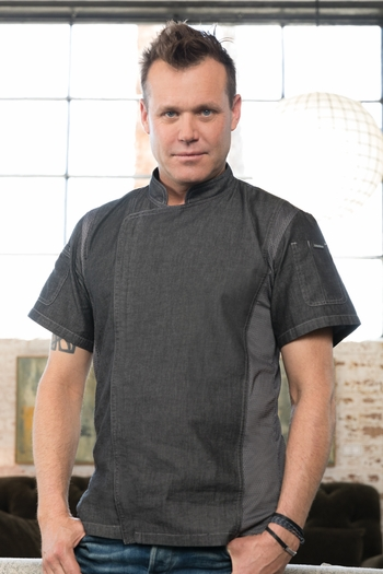 DELANCEY Black Denim Short Sleeve Chef Coat