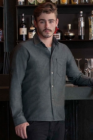 Detroit Long-Sleeve Denim Shirt in Black or Indigo Blue Denim