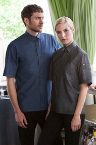 Detroit Short-Sleeve Denim Shirt in Black or Indigo Blue Denim