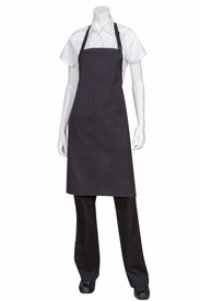 Fine Pinstripe Butcher Apron With Contrasting Ties