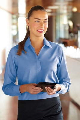 French Blue Women's Basic Dress Shirt