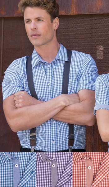 Men's Gingham Short Sleeve Shirts