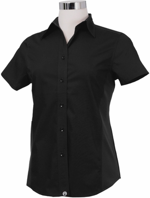 Ladies Black Short Sleeve Fitted Dress Shirt