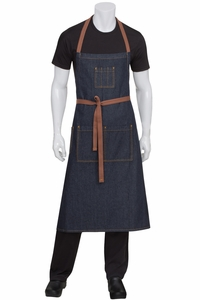 Memphis Indigo Blue Denim Chef's Bib Apron