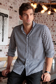 Men's Black and White Gingham  Shirt