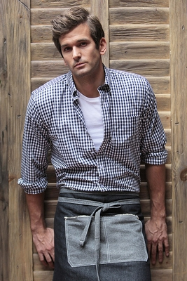 Men's Bllue and White Gingham  Shirt