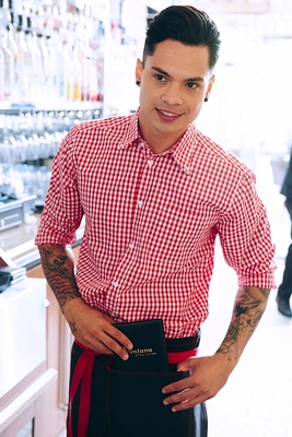 men 39 s red and white check gingham shirt