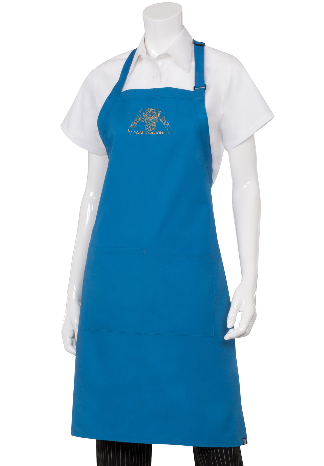 pasi cooking embroidered blue chef 39 s bib apron. Black Bedroom Furniture Sets. Home Design Ideas