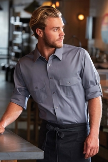 Two-Pocket Dress Shirt in White, Black or  Gray