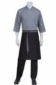 Wide Half Bistro Apron with Gray Contrast
