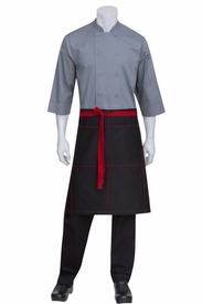 Wide Half Bistro Apron with Red Contrast
