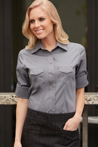 Women's Two-Pocket Dress Shirt in  Black or  Gray