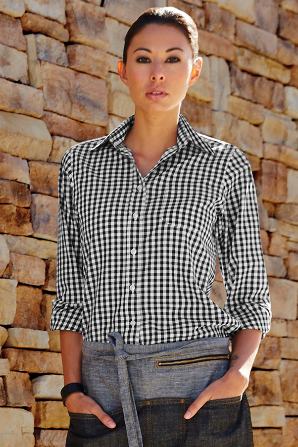 Blue And White Gingham Shirt Womens