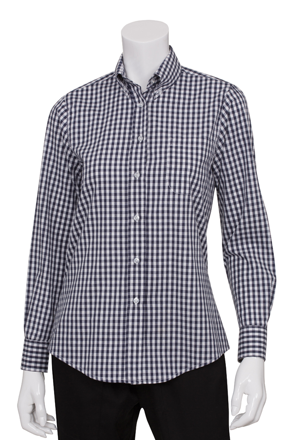 Women 39 s blue and white check gingham shirt for Red and white gingham shirt women s