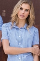 Womens Gingham Short Sleeve Shirts