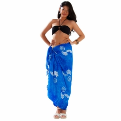 1 World Sarongs Womens Mono Colored Batik Sarongs in Blue