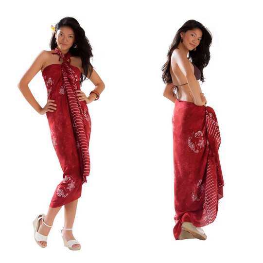 1 World Sarongs Womens Mono Colored Batik Sarongs in Burgundy