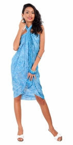 Abstract Floral Leaf Sarong in Blue