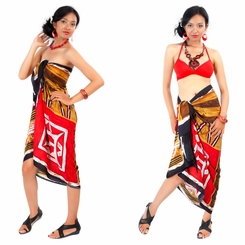 Abstract Graphic Design Sarong In Red