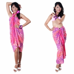 Abstract Heart Top Quality Sarong in Pink